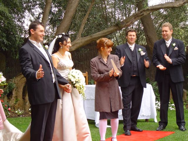Genevieve Messenger marriage celebrant of Daylesford in happy scene in a wedding.